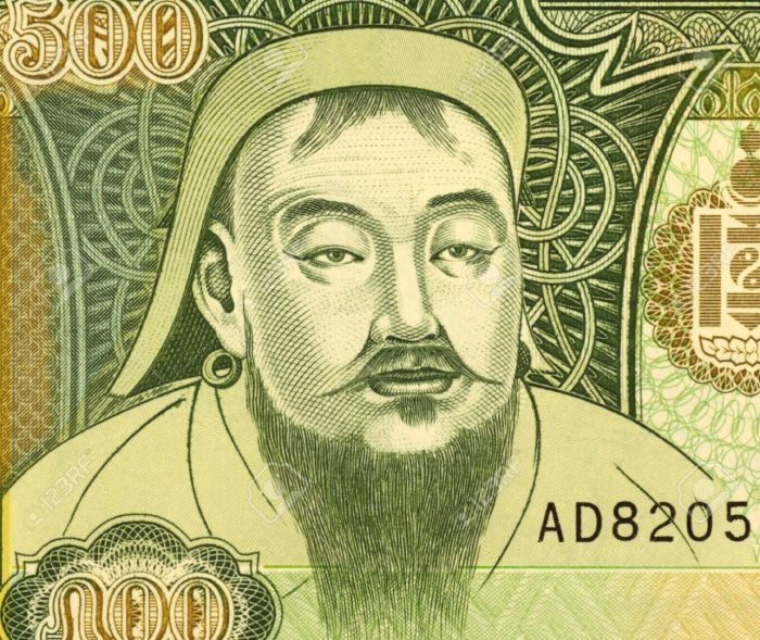 8486238-Genghis-Khan-1162-1227-on-500-Tugrik-1997-Banknote-from-Mongolia-Founder-ruler-emperor-of-the-Mongol-Stock-Photo