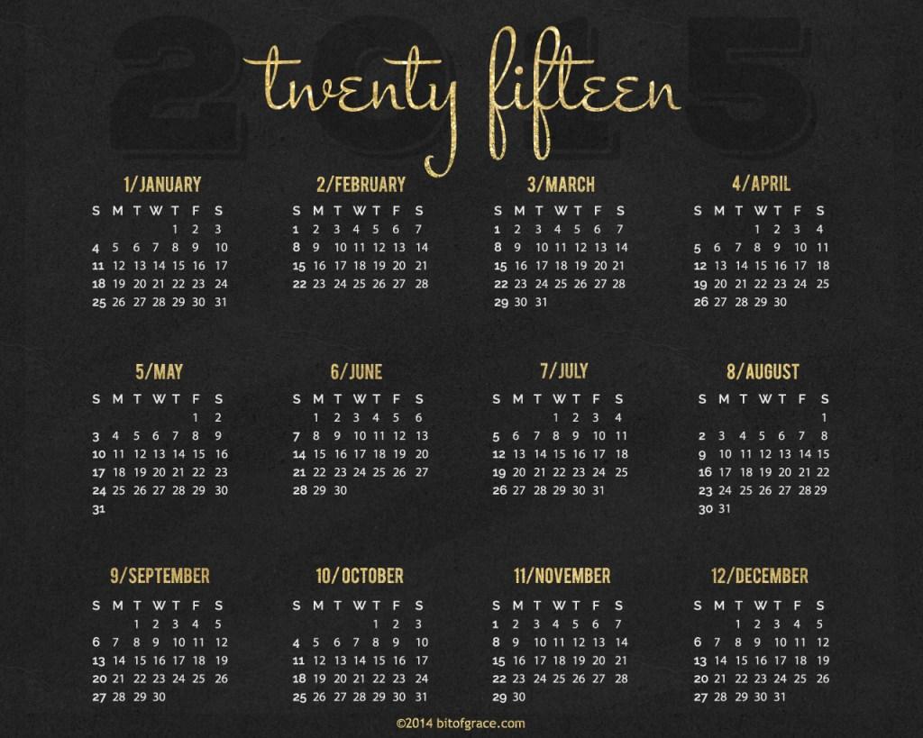 bitofgrace Desktop Background 2015 Calendar