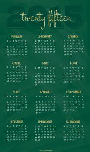 Emerald Pinnable 2015 Calendar