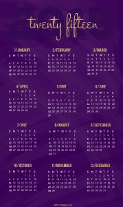 Royal Purple Pinnable 2015 Calendar