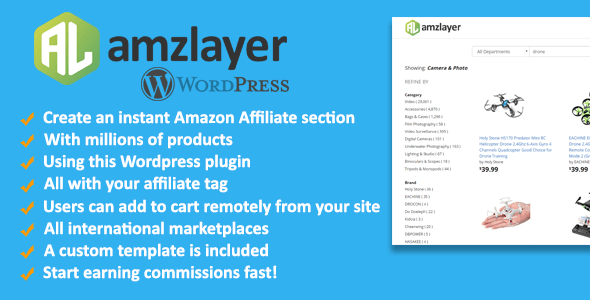 Amzlayer WP Plugin - Create an Amazon Affiliate section on