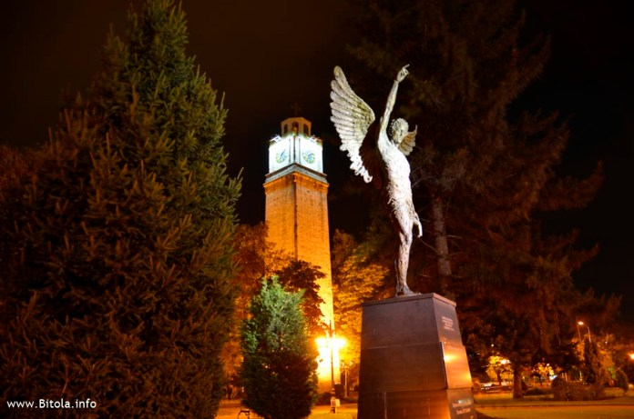 Monument Angel with Bitola Clock Tower
