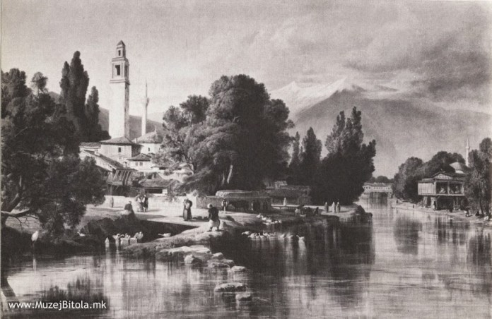 Bitola with Dragor River and Clock Tower - Painting in oil technique by Edward Lear 1848