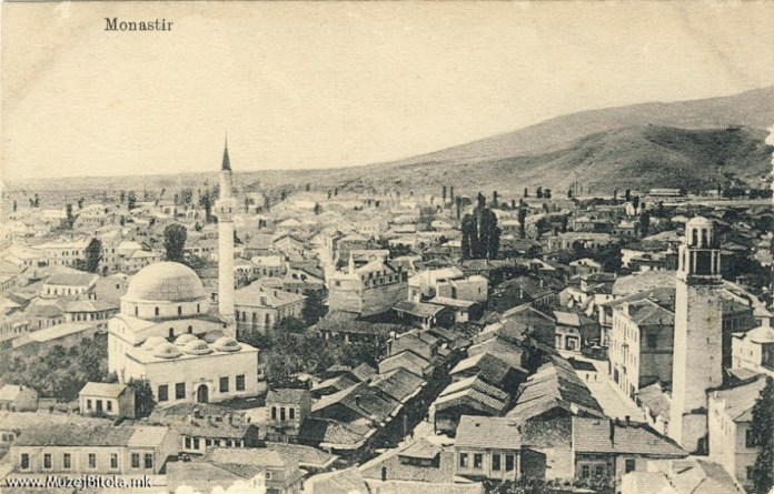 Pekmez Bazaar in Bitola with the Clock Tower in 1915