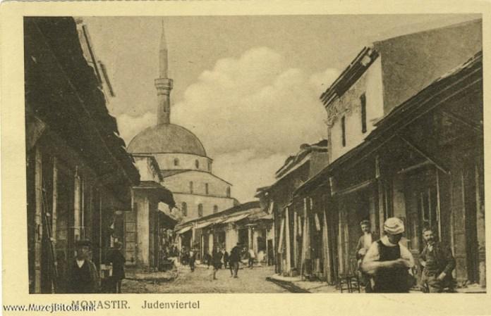 Jewish bazaar in Bitola with Isak Mosque 1915
