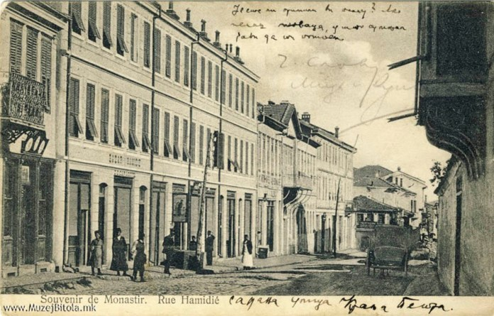The Main street Rue Hamidie Shirok Sokak Bitola with Catholic church 1907