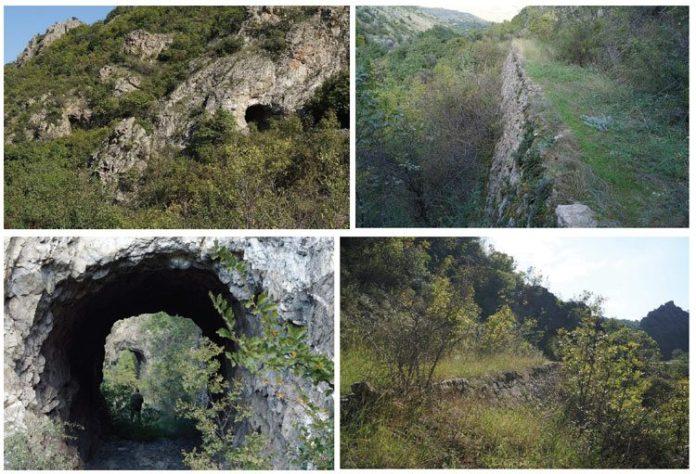 Видливи остатоци од трасата на пругата од 60 см. од Градско до Прилеп во пределотДреново-Тројаци.