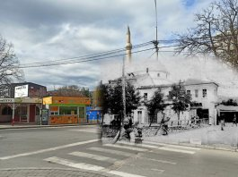 Isak Mosque during WW1 compared to 2020