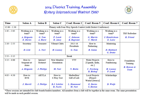 District Assembly Schedule