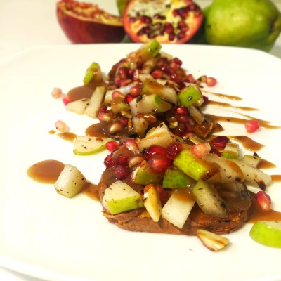 Pear, Pomegranate and Toasted Almond Bruschetta