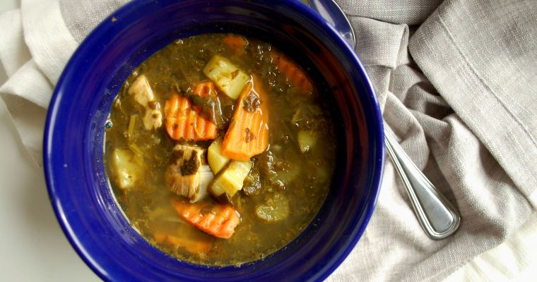 Lemon Oregano Chicken Soup with Zucchini + Spinach