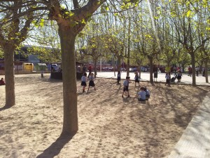 playground in Spanish inner city school,  Sand and trees
