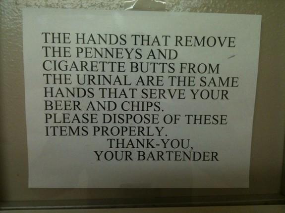 Bar bathroom sign