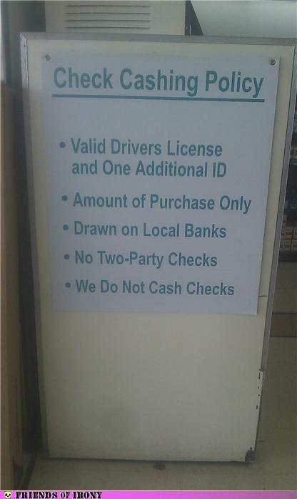 Check cashing policy