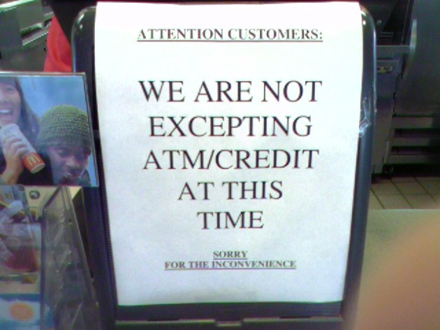 Not excepting credit cards