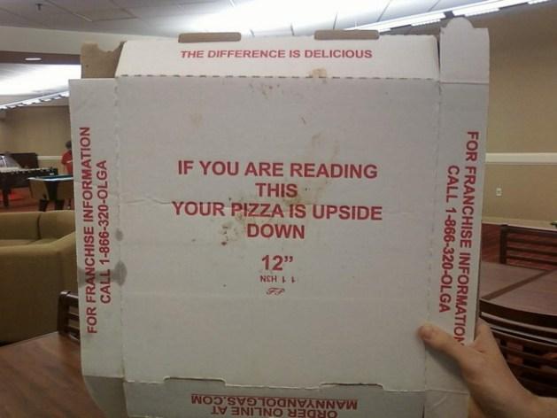 Pizza upside down