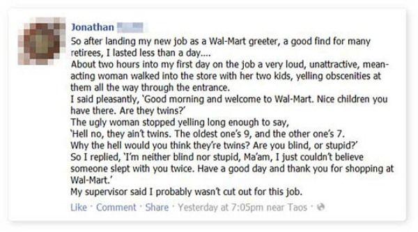 Walmart greeter job