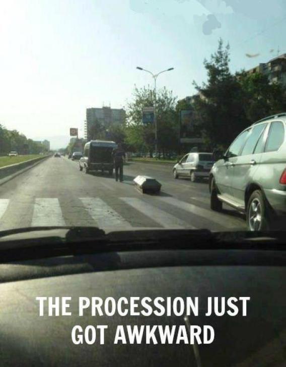 Coffin escapes hearse