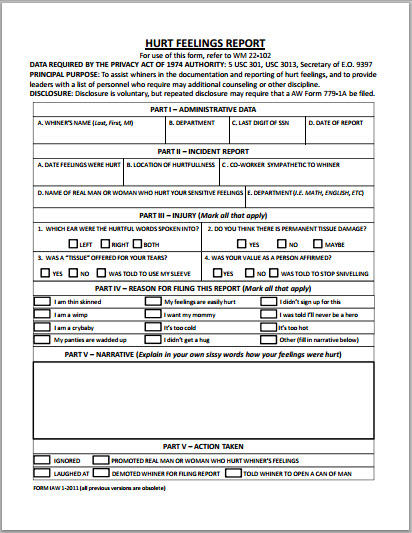 Hurt feelings report bits and pieces for Hurt feelings report template