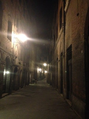 The streets of Siena at night