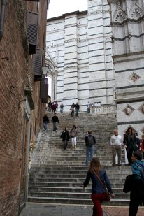 Marble steps leading up the side of the cathedral to the front entrance