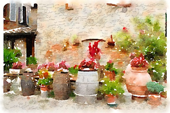 Flower barrels, The Fattoria at San Gimignano