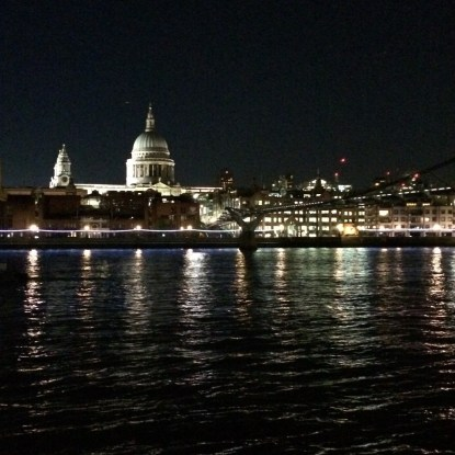 The Thames at night, St Paul's in the distance again.
