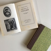 The title page and accompanying illustrations for 'Adventures in Caucasia'