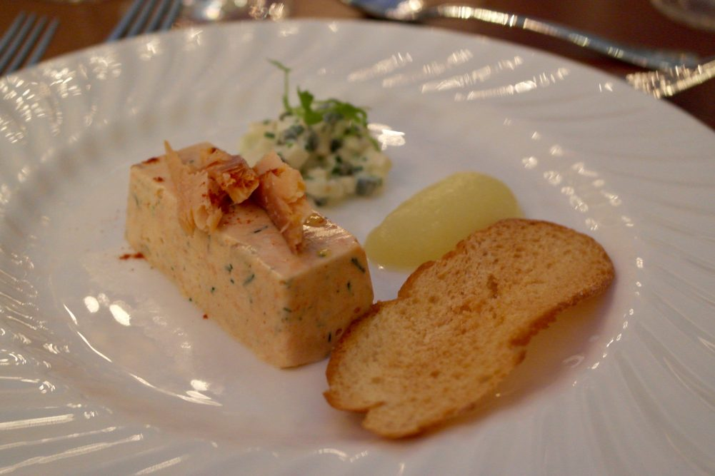 Smoked Bibury trout terrine, horseradish and apple salad