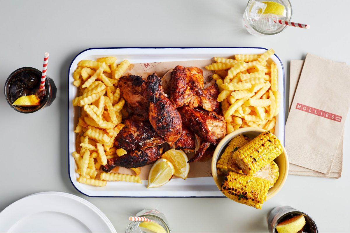 Mollies Motel Diner rotisserie chicken tray