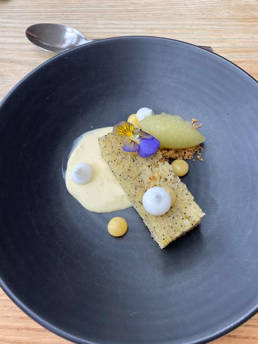 lemon and poppy seed sponge, with gin & tonic sorbet and lemon curd, on the tasting menu at The Folly, Oxford