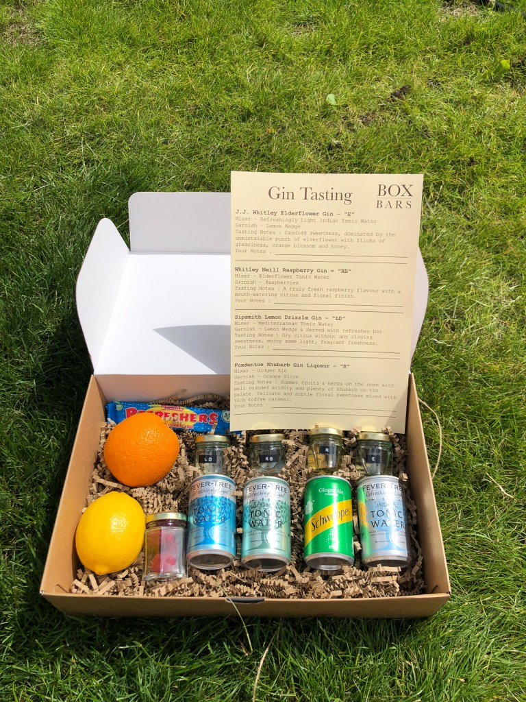 Box Bars gin tasting selection, delivered to your door!