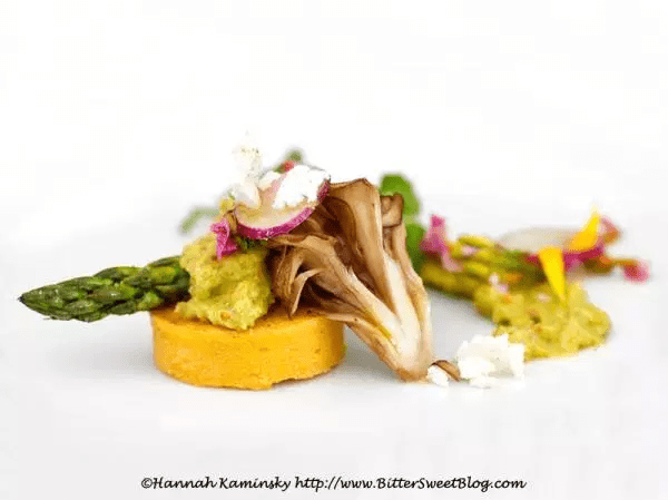 Chickpea Panisse with Pistachio-Pea Purée, Asparagus, and Maitake Mushrooms