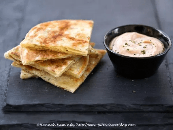 Citrus-Scallion Pancakes with Dynamite Cajun Dipping Sauce