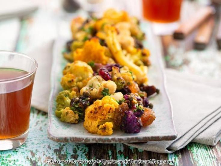 Roasted Rainbow Cauliflower Agrodolce