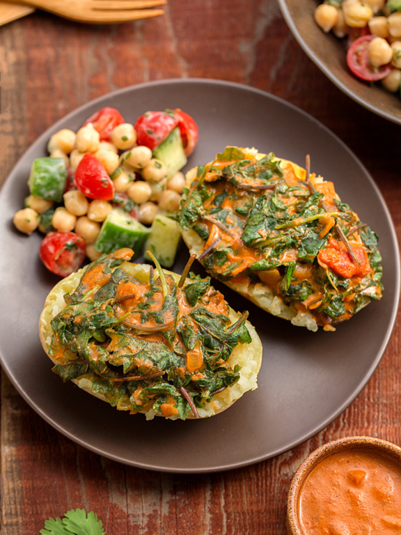 Curried Greens Smashed Potatoes
