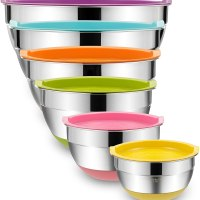 Mixing Bowls with Airtight Lids, 6 piece Stainless Steel Metal Bowls
