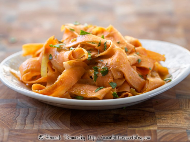 Sweet Potato Ribbons in Melted Onion Sauce