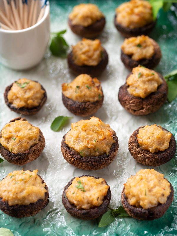 Lemongrass Basil Stuffed Mushrooms