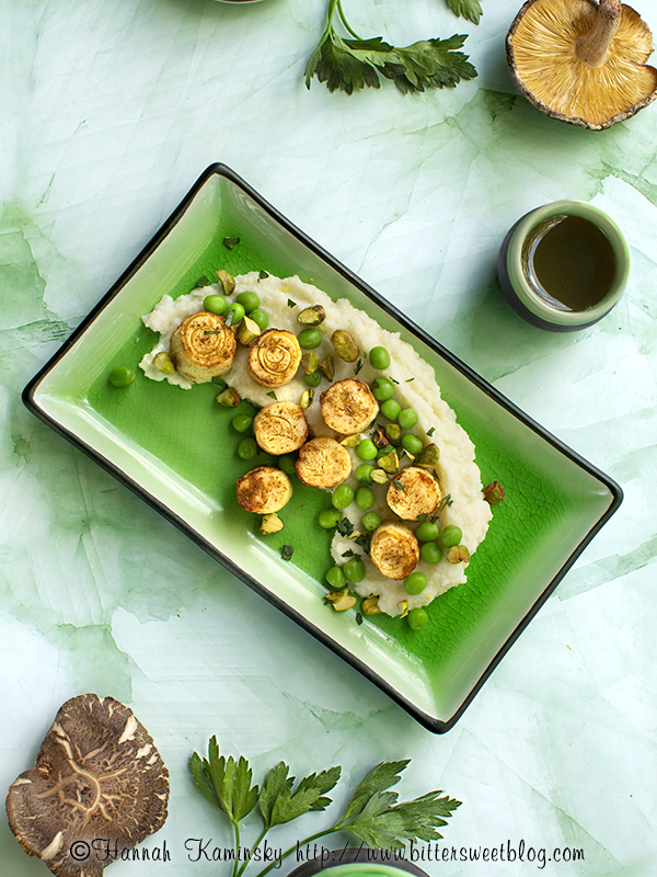 Seared Hearts of Palm Scallops with Cauliflower Puree