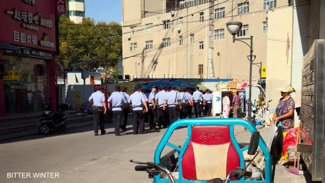 Police form a line to guard the church. (provided by an inside source)