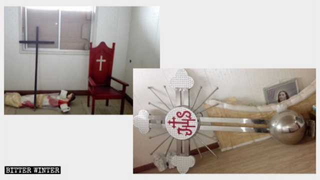 The cross and religious symbols of another Catholic church in Qishan county have been removed.