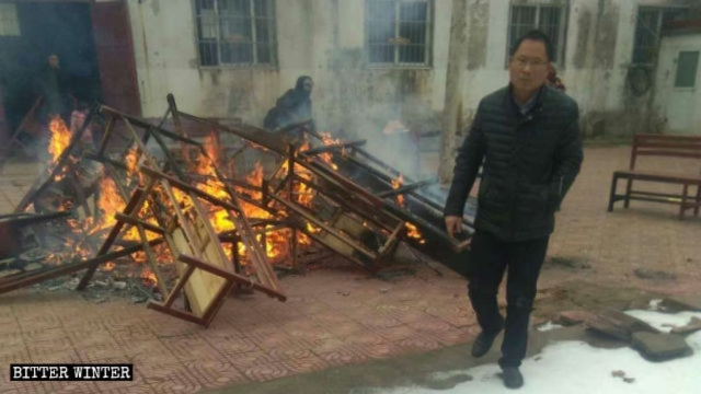 The church's benches and cushions were burned.