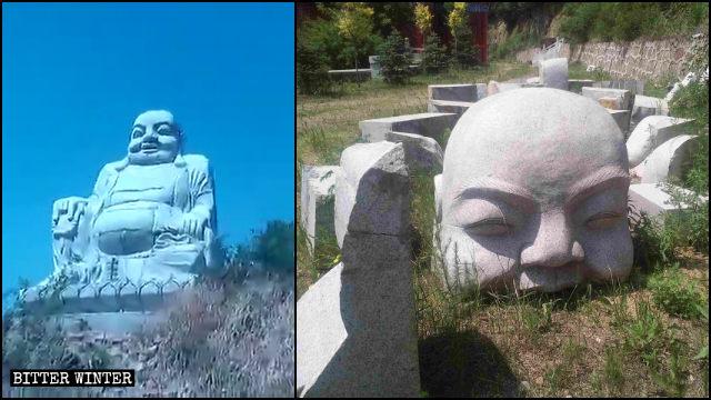 Buddhist statue in Baiqi town