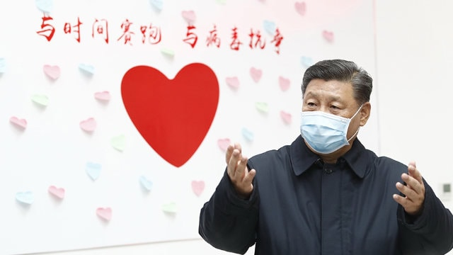 President Xi Jinping with a mask on his mouth in Beijing in February 2020.