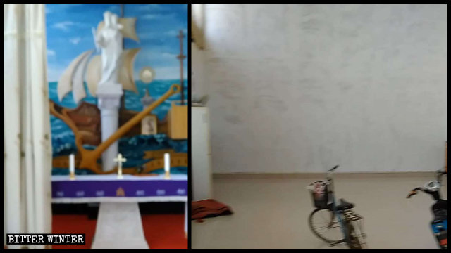 Statues, the altar, and other religious objects have been removed from a Catholic church in Dongzhao village.