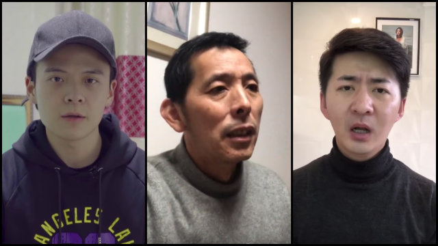 Li Zehua (left), Fan Bin, and Chen Qiushi disappeared after they have been arrestod for reporting about the coronavirus outbreak. (Screenshots from the vloggers' Youtube channels).