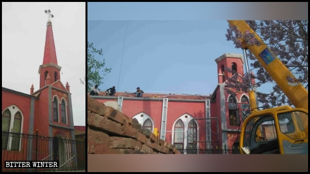A Three-Self church in Qiu county before and after its cross was forcibly removed.