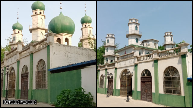 Five domes with star-and-crescent symbols were removed from a mosque in Minquan county's Chumiao township.