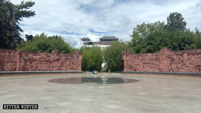The square where the Guanyin statue stood is now empty.